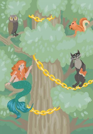 Fairy tree with characters and animals. Vector illustration Stock Illustratie