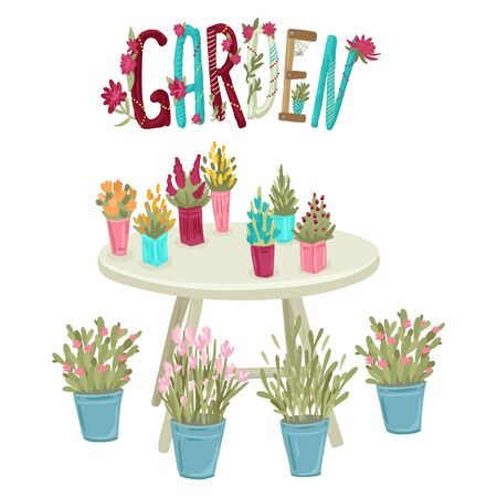 Table with a set of potted plants. Lettering Garden. Vector cartoon illustration