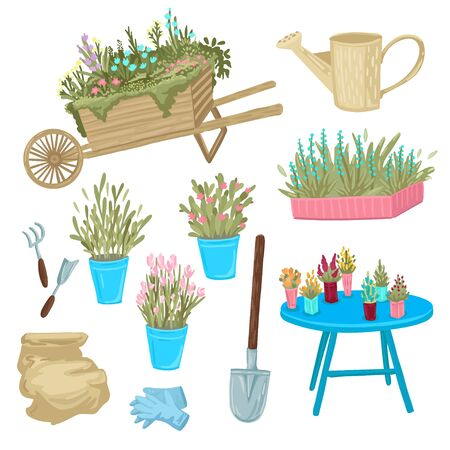 Set of a potted plants flowers and grass. Equipment for gardening, shovel, rake and gloves. Garden tools. Isolated objects on white background. Flat style cartoon drawing.
