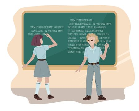 Congratulation to Teachers Day. Back to school. Students in uniform answer a lesson near the school board. Concept for banner or card. Flat style cartoon vector illustration on white background.