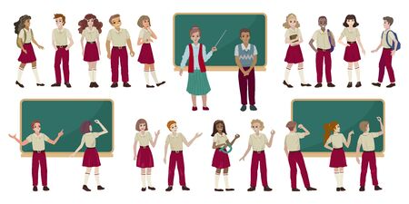 Group of high school students in uniform. Vector illustration Ilustrace