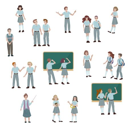Group of high school students in uniform. Boy and girl answering homework near school board. College students. Teacher with a pointer. Vector flat cartoon style illustration.