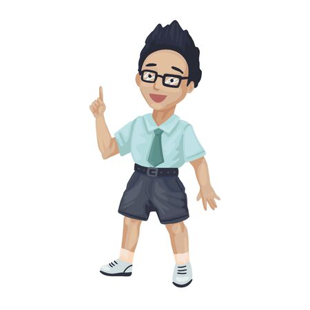 Young boy with dark hair pointing his finger. Little kid in shorts and glasses has idea. Positive emotions, smiling. Cartoon vector illustration isolated on white background
