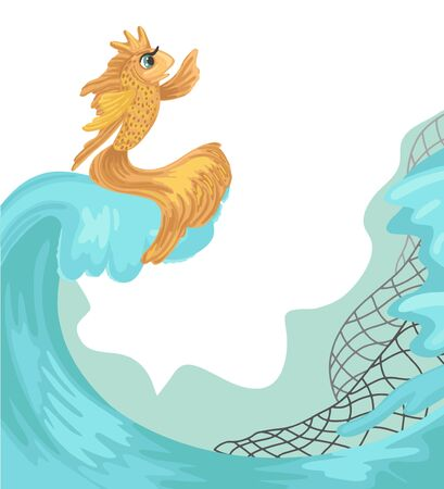 Gold fish, sea waves and fishing net. Concept for book cover, design. Russian fairy tail. Hand drawn red fish character. Cartoon vector illustration isolated on white background