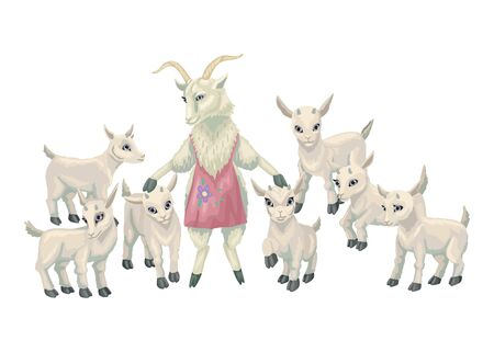 Female goat and baby goatlings. Hand drawn animal family with mom and goat cubs. Cartoon vector illustration isolated on white background Ilustracja