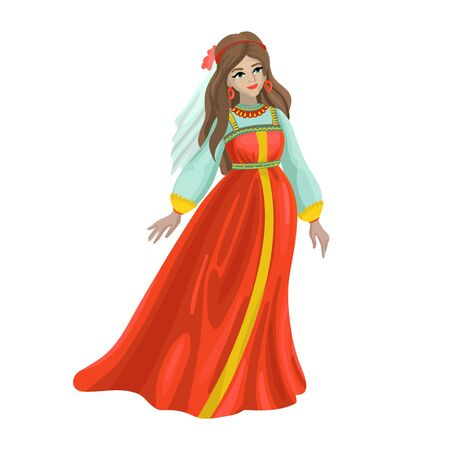 Russian girl in traditional folk dress. Vector illustration
