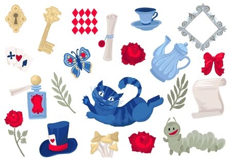 Alice in Wonderland collection. Set of isolated objects. Vector illustration.