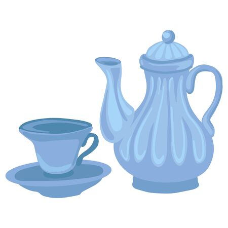 Ceramic teapot and cup. Vector cartoon illustration