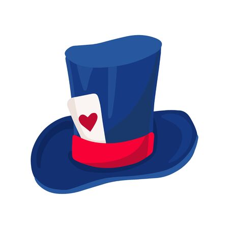 Mad Hatter blue hat with playing card. Vector illustration.