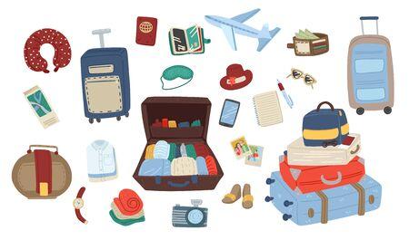 Ensemble d'articles de voyage. Collection pour vacances ou voyage. Emballage des bagages. Illustration de dessin animé de vecteur