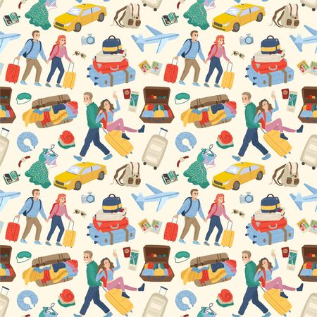 Seamless pattern. Couples traveling together with luggage. Travel concept. Vector cartoon illustration