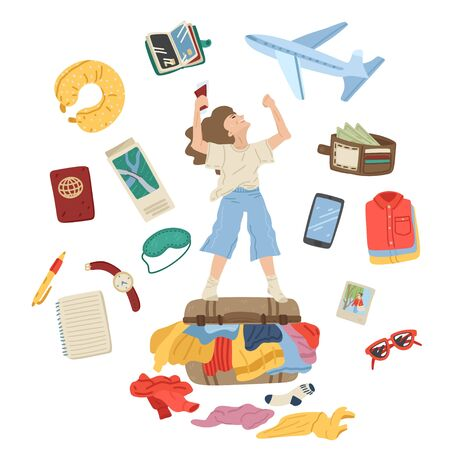 Packing suitcase for vacation. Set of travel items. Woman is standing on overflowed suitcase with clothes. Preparing for journey. Isolated on white background. Vector cartoon illustration Vector Illustratie