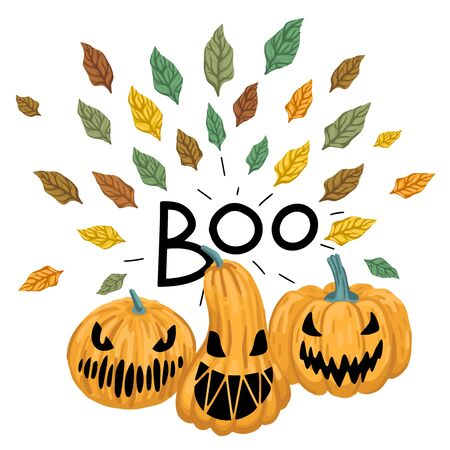 Scary pumpkins with carved faces. Lettering Boo. Autumn leaves around. Vector illustration Ilustração