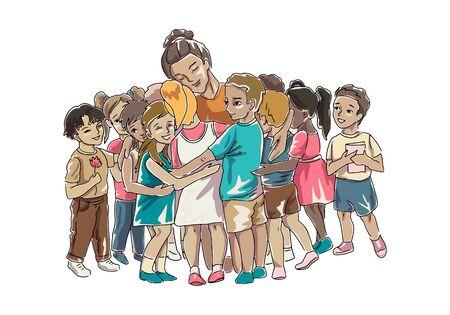 Children hugging their teacher or educator sitting down. Vector isolated illustration
