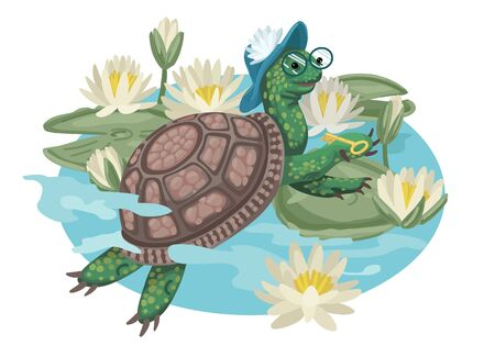 Turtle in glasses and hat. Cartoon vector illustration