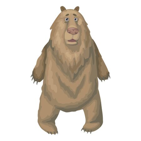 Large wild brown bear is surprised or shocked. Vector illustration