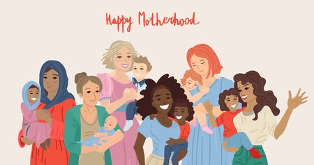 Happy motherhood. Various group of moms carrying their babies. Vector illustration Ilustrace