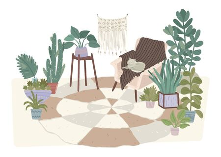 Living room with various potted plants on carpet. Vector illustration