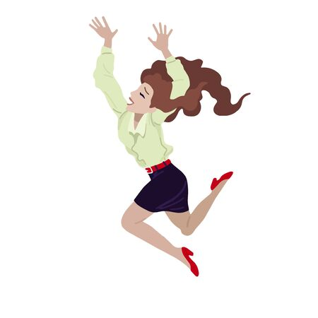 Jumping woman in casual clothes. Vector illustration