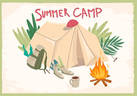 Summer holiday. Camping in forest with tent. Vector cartoon concept