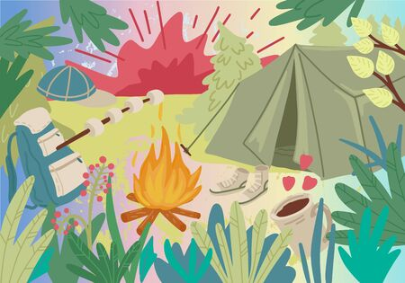 Summer holiday. Camping place in forest with tent. Bonfire marshmallows and backpack. Green forest and bush leaves. Design for greeting card, poster or flyer. Vector cartoon illustration concept