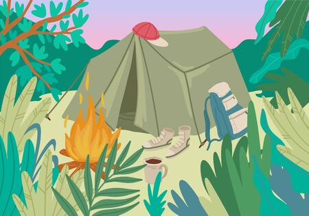 Summer holiday. Camping place in forest with tent. Campfire and backpack. Green forest and bush leaves. Campsite surrounded by trees. Design for greeting card, poster or flyer. Vector cartoon concept