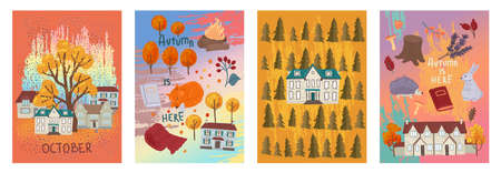 Set of square cards with houses and yellow trees. Autumn weather, seasonal design. Vector design, flat illustration
