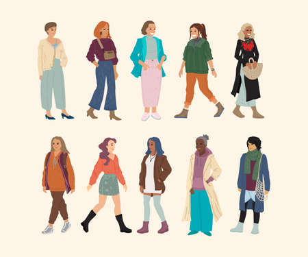 Different races and nationalities of women. A set of characters. Banner design, people illustration. Иллюстрация