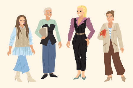 Women in business suits, employees of the company, different dress codes, came to work. Vector flat illustration