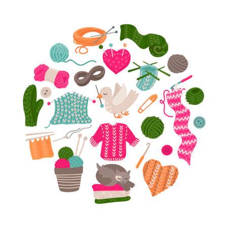 Handmade kit set. Tools for knitting. Vector illustration