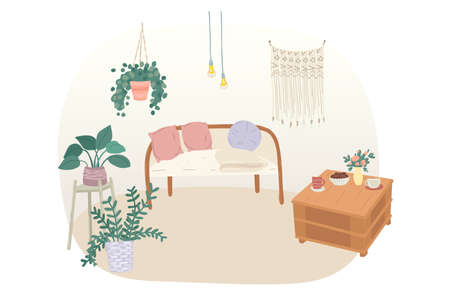 Cozy living room interior with coach and coffee table. Vector illustration 向量圖像