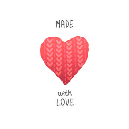 Made with love. Knitted heart. Vector illustration Stock Illustratie