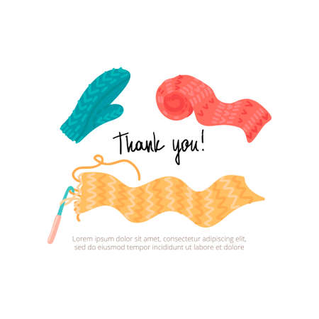 Knitted mittens and scarf. Image for thank you page. Vector illustration