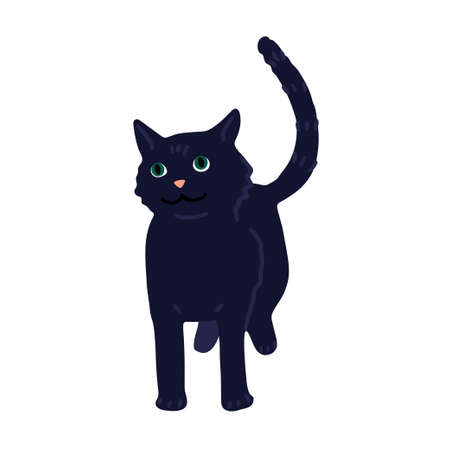 Simple drawing of a black cat. Unhappiness symbol icon. Fairy tale character. Cartoon drawing, vector illustration isolated on white background