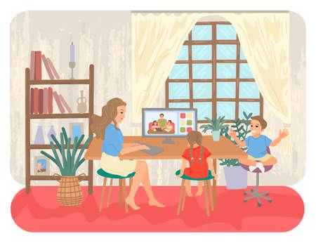 Family with children. Entertainment for children at home. Online education for school children. Vector illustration