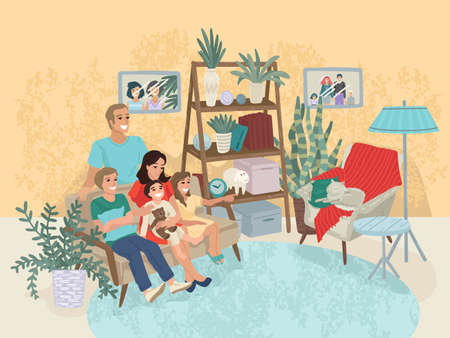 Family is sitting on the couch, a cat in a chair. Home interior, wardrobe in the hall. Rest with parents at home. Family portrait. Vector illustration