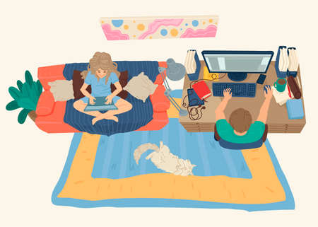 Husband and wife work from home, online communication, webinar on the Internet. Hobbies at home. Vector illustration Illustration