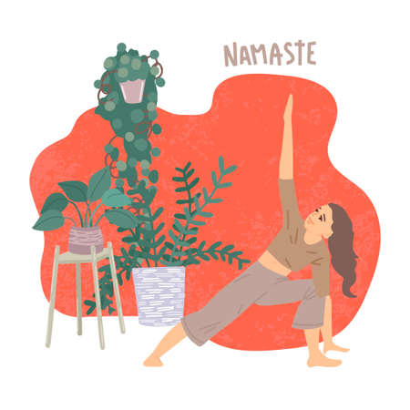 Woman stands in an asana, plants around, sports at home, activity during quarantine. Vector illustration