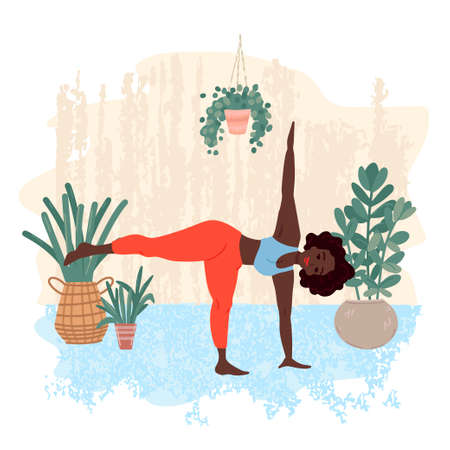 Woman do yoga. Pattern of plants.Outdoor sports, online activity at home. Vector illustration Ilustracja