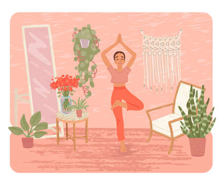 Woman doing yoga activity at home. View a yoga lesson online on a computer. A lesson with an instructor from home. Vector illustration Ilustracja
