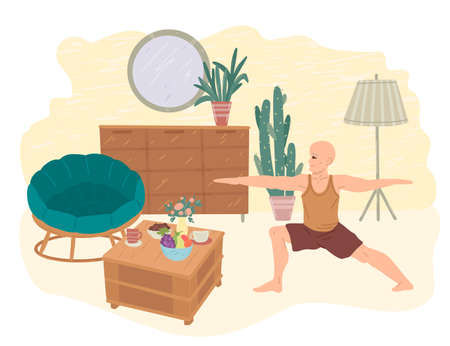 Man practices yoga at home. The interior of the apartment during quarantine. Stay home and do yoga. Vector drawing