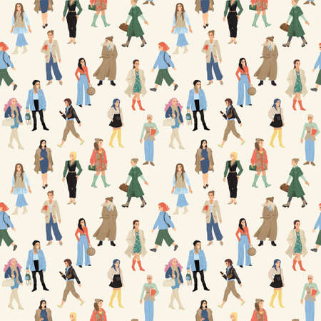Women in different bright clothes. People seamless pattern. Texture print for textiles. Vector illustration 일러스트