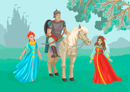 Warrior on a horse, beautiful princesses nearby. A man in armor, ammunition and a spear. Castle silhouette on the background. 矢量图像