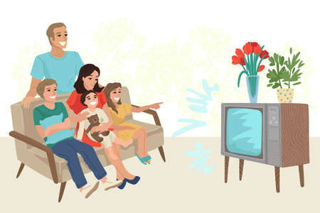 Big family with three children watching retro TV, sitting on the sofa at home. Rest with relatives, day off, watching a movie. Vector illustration