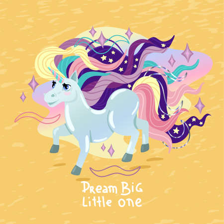 Unicorn and lettering: Dream big. Magic horse with colored mane, kids illustration on a yellow background. Vector cartoon drawing, print design for girls t-shirt