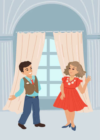 The boy invites the girl to dance, an invitation to a secular evening. Vector illustration, cartoon style.