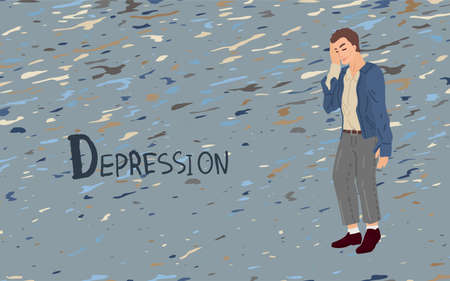 Facepalm. Upset sad man. The inscription is depression. Psychology. Vector illustration on a gray background with a rain pattern. Illustration