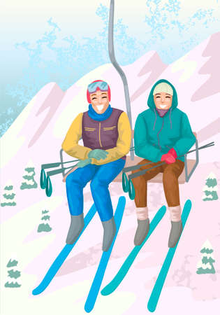 Couple rise on ski lift elevator. Vector illustration concept 矢量图像
