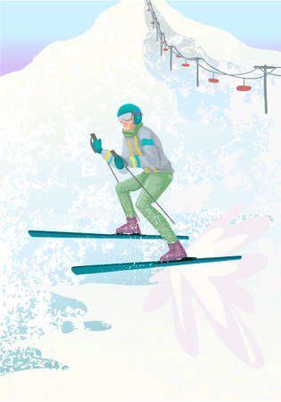 Young man in suit skiing in mountains. Vector illustration concept