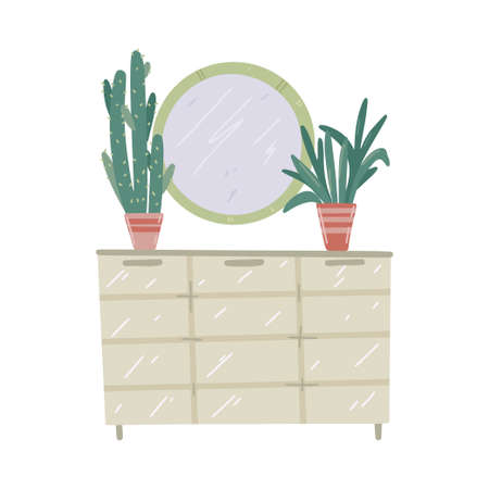 Commode with mirror and home plants. Vector handdrawn illustration.